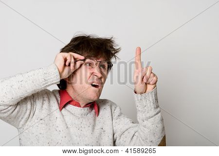 Man With Glasses And With Disheveled Hair