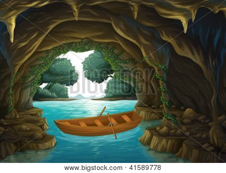 Illustration of a boat in the cave