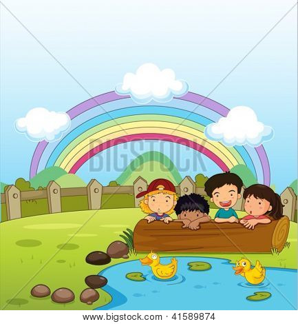 Illustration of kids watching the ducklings in the pond