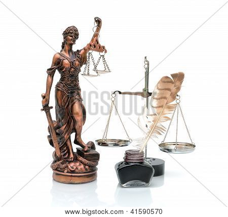 Statue Of Justice, Scale, Ink And Pen On A White Background