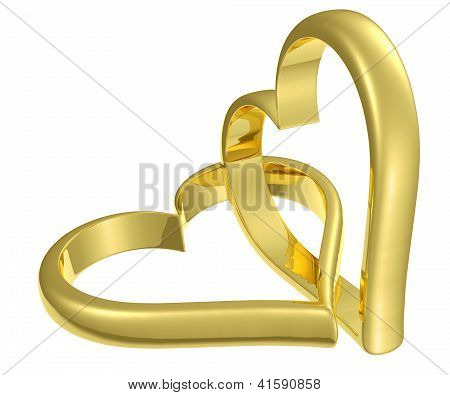 Couple Of Chained Golden Hearts