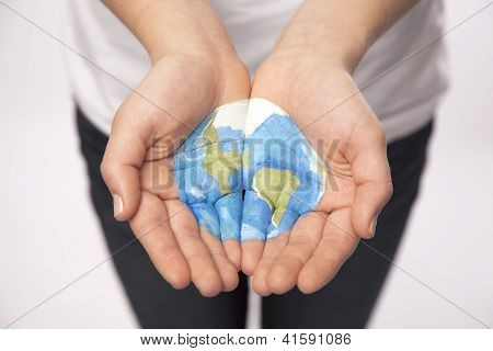 Young Hands Hold World