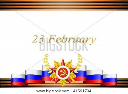 vector greeting card with congratulations to 23 february and Victory Day