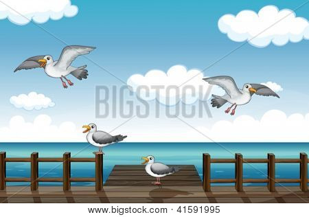 Illustration of a flock of birds looking for foods in the sea