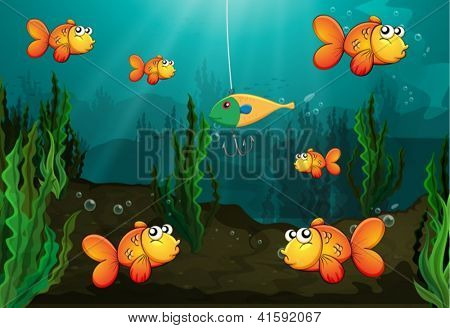 Illustration of a fish caught in a bait being watched by other fishes