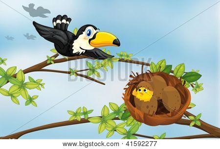 Ilustração de um pássaro voando em direção de seu ninho
