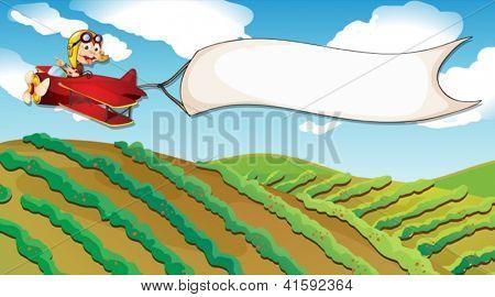 Ilustración de un niño que viajaba en un avión