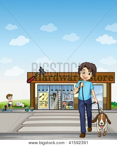 Illustration of a boy crossing the street with a dog