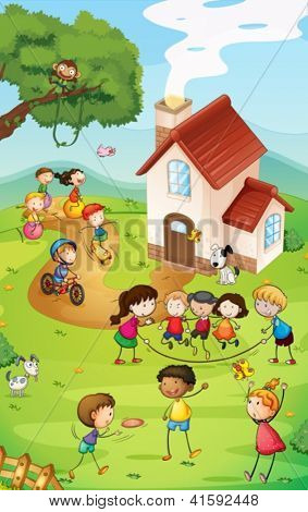 Illustration of a playground with so many kids