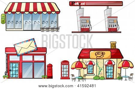 Illustration of different business establishments on a white background