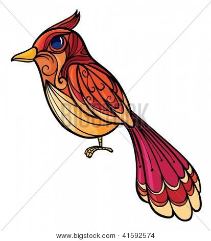 Illustration of a colorful bird on a white background