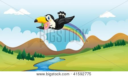 Illustration of a flying bird with a flower