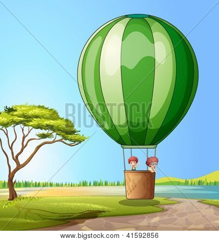 Illustration of a hot air balloon with two boys
