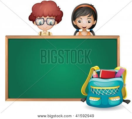 illustration of kids and a green board on a white background