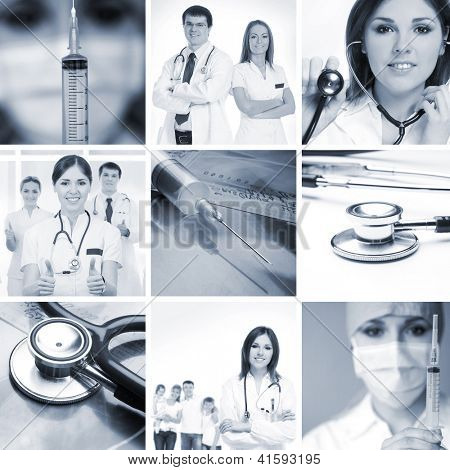 Monochromatic collage made of many medical images