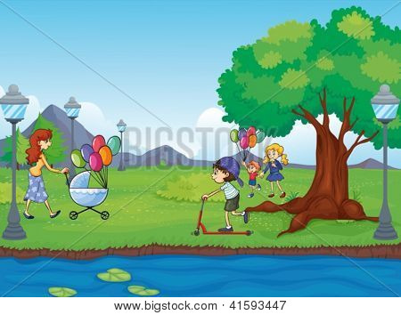 Illustration of kids and a water