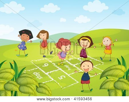 Illustration of six young girls playing and enjoying
