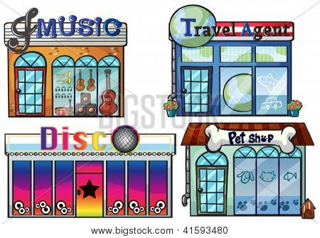 Illustration of a musical store, travel agent office, disco house and a pet shop on a white background