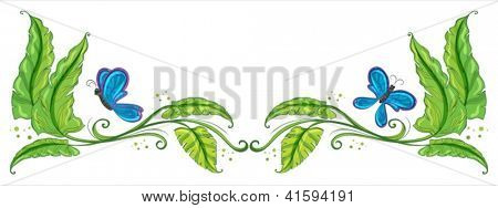 Illustration of a border with butterflies on a white background