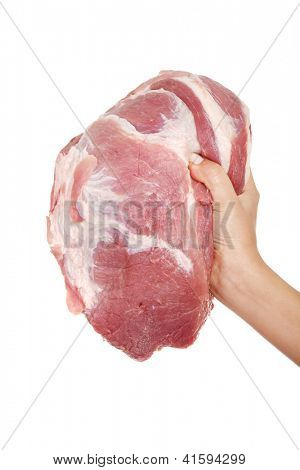 Female hand holding raw pork meat. Isolated on white