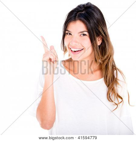 Woman pointing up with her finger - isolated over a white background