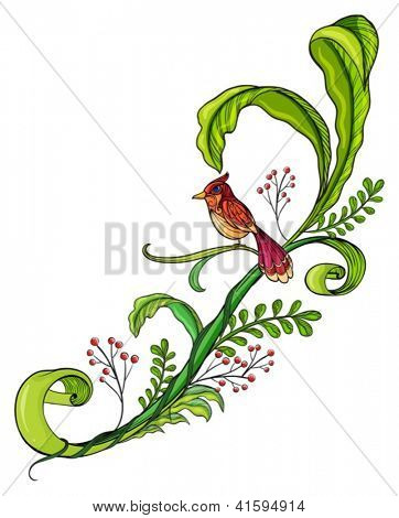 Illustration of a border with a bird on a white background