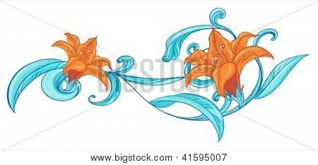 Illustration of a blue and orange border on a white background