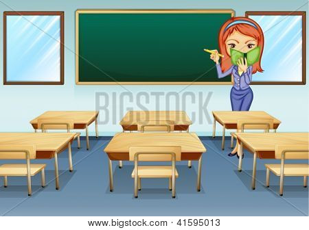 Illustration of a teacher in the classroom