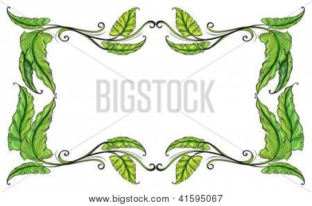 Illustration of a border made of leaves on a white background