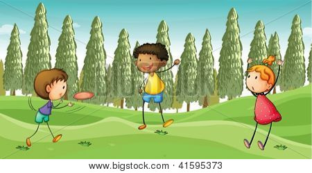 Illustration of kids playing flying dish in a beautiful nature