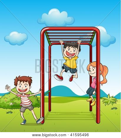 Illustration of kids playing monkeybar in a beautiful nature