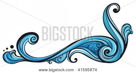 Illustration of a unique blue border on a white background