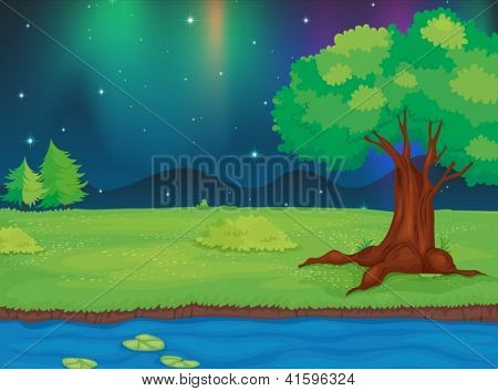 Illustration of a river and a beautiful landscape in a night