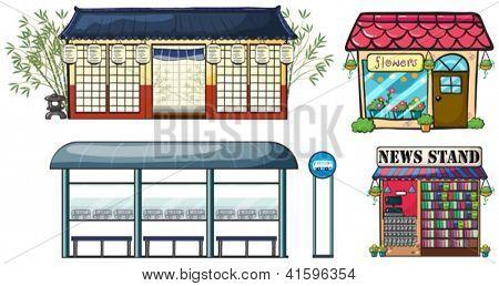 Ilustración de varias tiendas y una estación de autobuses sobre un fondo blanco