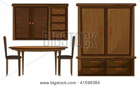 Illustration of a dinning table and a wardrobe on a white background