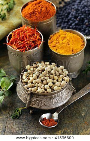 various spices (turmeric, paprika, saffron, coriander) in metal bowls