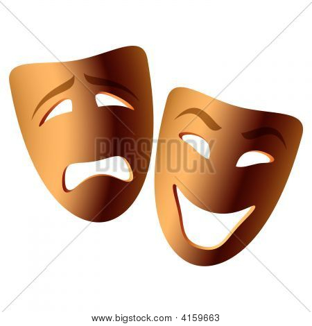 Vector Comedy And Tragedy Masks
