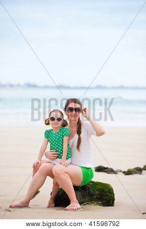 Mother and daughter portrait on a beach vacation