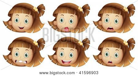 Illustration of the different facial expressions of a girl on a white background