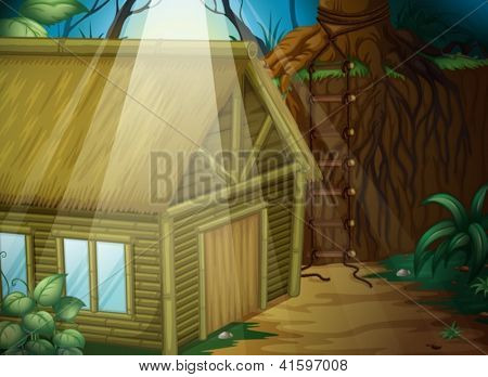 Illustration of a house in the woods