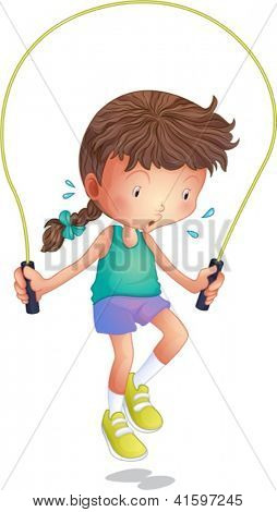 Illustration of a little girl playing skipping rope on a white background