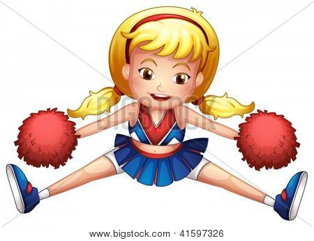 Illustration of an energetic cheerleader on a white background