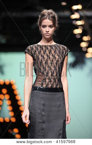 ZAGREB, CROATIA - OCTOBER 19: Fashion model wears clothes made by Linea Exclusive at 'Croaporter' fashion show, on October 19, 2012 in Zagreb, Croatia.