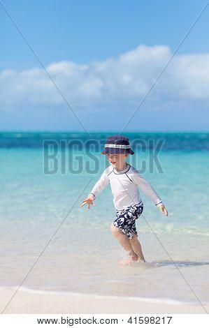 Little Boy At The Tropical Beach
