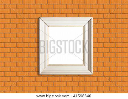 Marco blanco en la pared de ladrillo