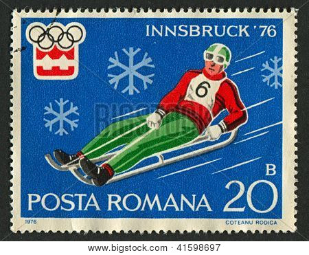 ROMANIA - CIRCA 1976: A stamp printed in Romania dedicated to XII Olympic Winter Games (1976) in Austria, circa 1976.