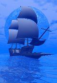 Постер, плакат: Древняя лодка ночью 3D визуализация