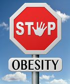 stock photo of obese  - obesity prevention stop over weight start campaign with diet for obese children and adults with eating disorder - JPG