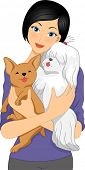 picture of cuddling  - Illustration of a Girl Cuddling a Shih Tzu and a Chihuahua - JPG