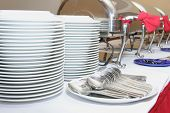 stock photo of chafing  - the photograph of kitchen equipment at buffet - JPG